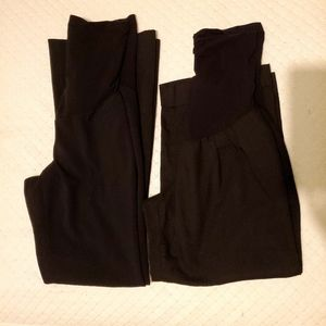 Two black maternity work bottoms